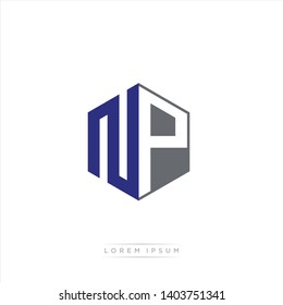 NP Logo Initial Monogram Negative Space Design Template With Blue Navy and Grey color