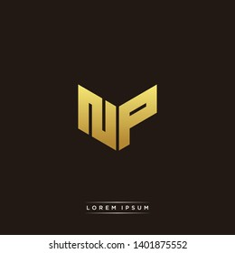 NP Logo Letter Initial Logo Designs Templete with Gold and Black Background