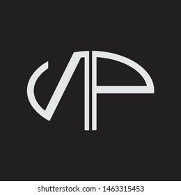 NP Logo letter oval monogram design template with black and white colors