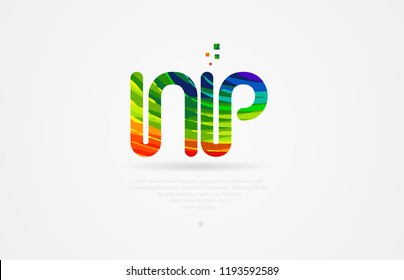 np n p alphabet letter logo icon combination design with rainbow color