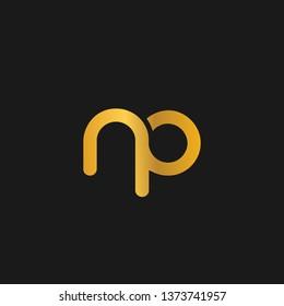 NP or N P letter alphabet logo design in vector format.