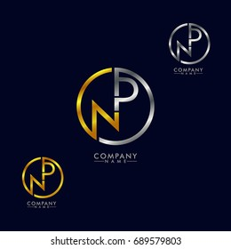 np / pn logo gold and silver