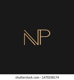 NP or PN logo vector. Initial letter logo, golden text on black background