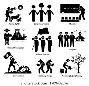 NPO nonprofit organization foundation welfare vector set. Non profit group of animal rights, land, education, cultural preservation, veterans, church, environment, and watchdog, and self sufficiency.