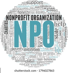 NPO - Nonprofit organization word cloud isolated on a white background.
