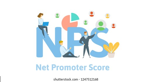 NPS, Net Promoter Score. Concept with keywords, letters and icons. Colored flat vector illustration on white background.