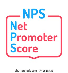 Nps, or net promoter score. Flat vector badge illustration on white background.