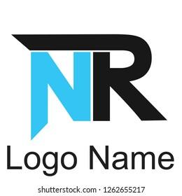 NR Alphabet logos, future techno alphabet, minimalistic vector typeface, Initial Logos