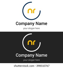 NR business logo icon design template elements. Vector color sign.