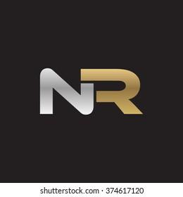 NR company linked letter logo golden silver black background