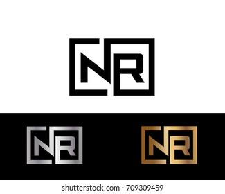 NR initial box shape Logo designs template