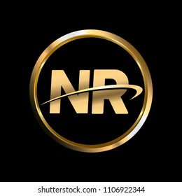 NR initial circle company logo gold black background