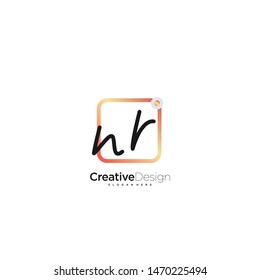 NR initial handwriting with color logo icon template vector.