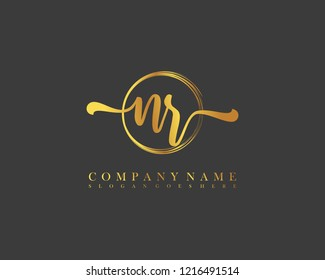 NR initial handwriting logo circle template vector