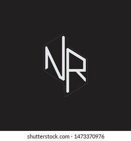 NR Initial Letters logo monogram with up to down style isolated on black background