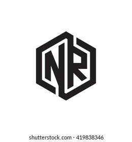 NR initial letters looping linked hexagon monogram logo