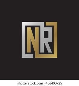 NR initial letters looping linked square elegant logo golden silver black background