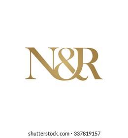 N&R Initial logo. Ampersand monogram golden logo