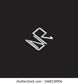 NR Initial Logo letters with rotate squere template
