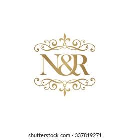 N&R Initial logo. Ornament ampersand monogram golden logo