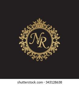 NR initial luxury ornament monogram logo