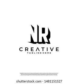 NR Letter Initial Logo Design in shadow shape design concept