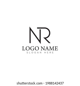 NR  Letter Logo design vector. Illustration of Letter NR N R Logotype template element