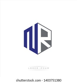 NR Logo Initial Monogram Negative Space Design Template With Blue Navy and Grey color