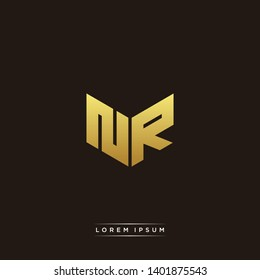 NR Logo Letter Initial Logo Designs Templete with Gold and Black Background