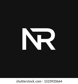 NR Logo Letter Initial Logo Designs Template with white and Black Background