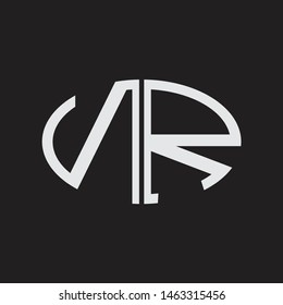 NR Logo letter oval monogram design template with black and white colors