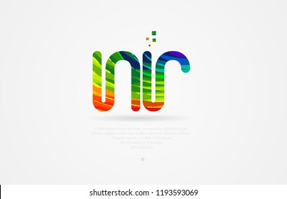 nr n r alphabet letter logo icon combination design with rainbow color