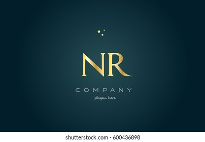 nr n r  gold golden luxury product metal metallic alphabet company letter logo design vector icon template green background
