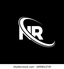 NR N R letter logo design. Initial letter NR linked circle uppercase monogram logo red and blue. NR logo, N R design. nr, n r