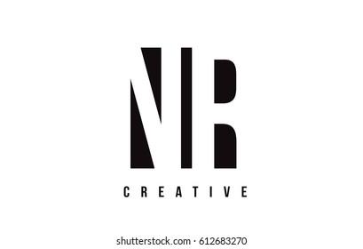 NR N R White Letter Logo Design with Black Square Vector Illustration Template.