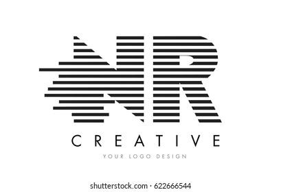 NR N R Zebra Letter Logo Design with Black and White Stripes Vector