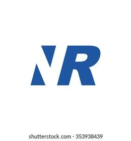 NR negative space letter logo blue