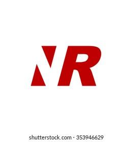 NR negative space letter logo red