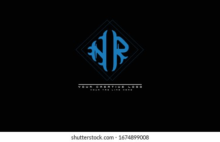 NR RN abstract vector logo monogram template