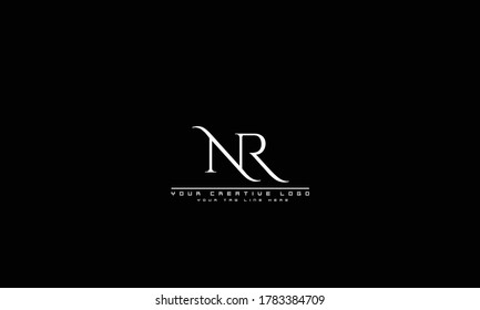 NR RN abstract vector logo monogram template