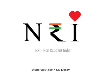 NRI - Non Resident Indian Concept shown by Replacing R with Indian Rupee symbol