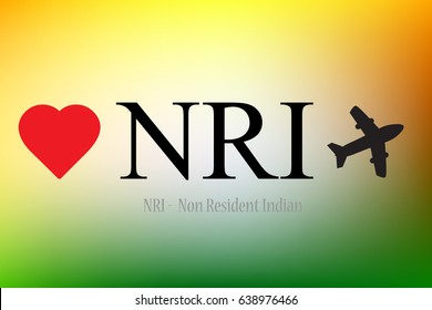NRI - Non Resident Indian Concept shown with Heart