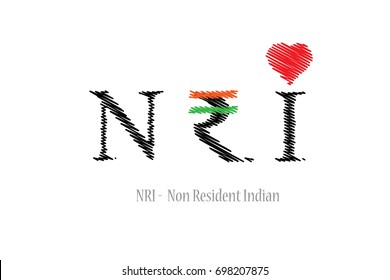 NRI - Non Resident Indian in scribbled style.