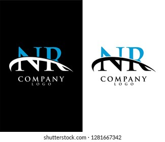 nr/rn initial letter logotype company logo swoosh design vector