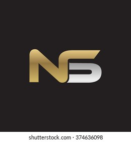 NS company linked letter logo golden silver black background