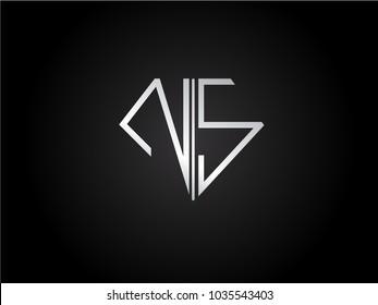 NS diamond shape silver color design