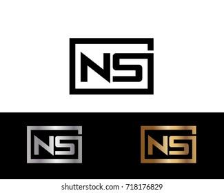 NS initial box shape Logo designs template