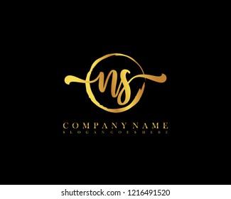 NS initial handwriting logo circle template vector