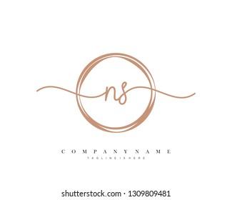 NS initial handwriting logo template vector