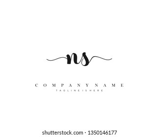 NS initial handwriting logo template with luxury color vector